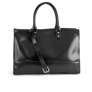 Lulu Guinness Women's Daphne Medium Polished Calf Leather Tote Bag - Black