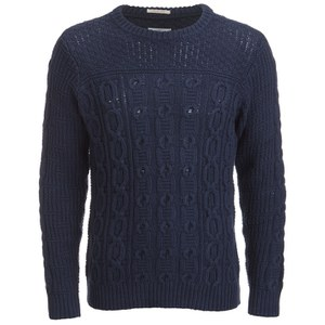 GANT Rugger Men's Chunky Cable Knitted Jumper - Blue