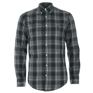 GANT Men's Heather Twill Long Sleeve Shirt - Dark Charcoal Melange
