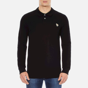 Paul Smith Jeans Men's Basic Long Sleeve Pique Zebra Polo Shirt - Black