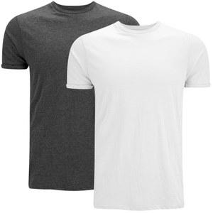 Brave Soul Men's Vardan 2 Pack T-Shirt - Grey/White