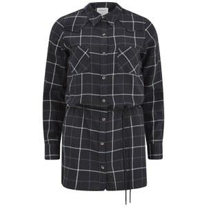 Vero Moda Women's Jannet Check Long Line Shirt - Black
