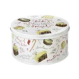 Parlane Chirstmas Cake Tin - White (130x250mm)