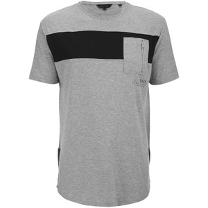 Crosshatch Men's Longline Blockhead T-Shirt - Grey Marl