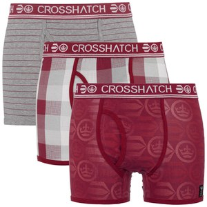 Crosshatch Men's Blogo Printed 3 Pack Boxers - Sundried Tomato