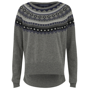 French Connection Women's Fran Fairisle Crew Neck Jumper - Grey Melange
