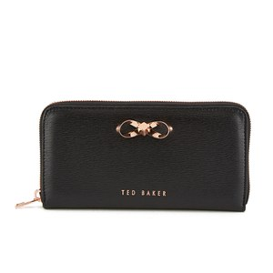 Ted Baker Women's Freesia Crosshatch Metal Bow Zip Around Matinee Purse - Black
