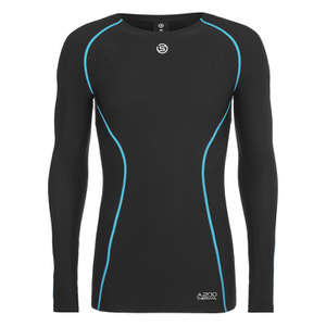 Skins A200 Mens Thermal Long Sleeve Compression Round Neck Top - Black/Neon Blue