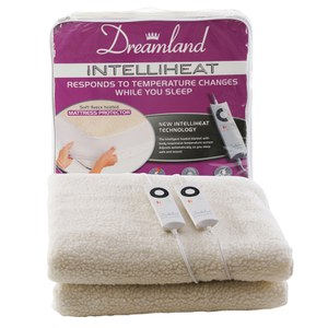 Dreamland 6967 Intelliheat Premium Soft Fleece Dual Control Electric Mattress Cover - Double