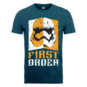 Star Wars Men's The Force Awakens First Order Stormtrooper Head Yellow T-Shirt - Midnight