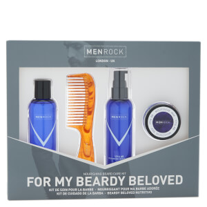 Men Rock Nourishing Beard Care Kit - Beardy Beloved (Beard Shampoo, Beard Balm, Moustache Wax, Beard Comb)