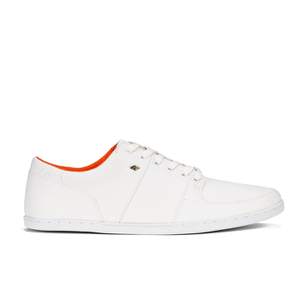 Boxfresh Men's Spencer Waxed Canvas Low Top Trainers - White/Orange
