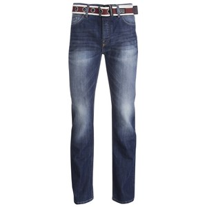 Crosshatch Men's Oklahoma Belted Straight Leg Jeans - Stone Wash