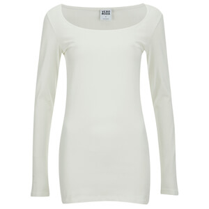 Vero Moda Women's Maxi My Long Sleeve Long U-Neck Top - Snow White