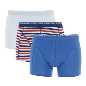 Bjorn Borg Men's 3 Pack Stripes Boxer Shorts - Estate Blue