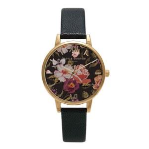 Olivia Burton Women's Midi Winter Garden Watch - Black/Gold
