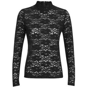 ONLY Women's Ara Lace Long Sleeve Top - Black