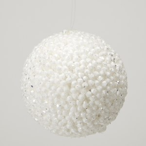 Gisela Graham Glitter Snow Ball Decoration - Silver