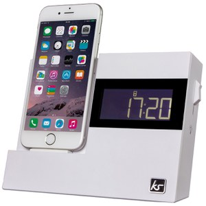 Kitsound XDock3 Lightning Dock Clock Radio - White