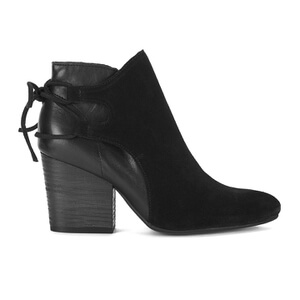 H Shoes by Hudson Women's Minka Suede Lace Back Heeled Ankle Boots - Black