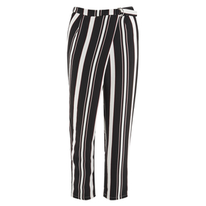Lavish Alice Women's Stripe Crossover D-Ring Peg Leg Trousers - Black/Cream/Burgundy