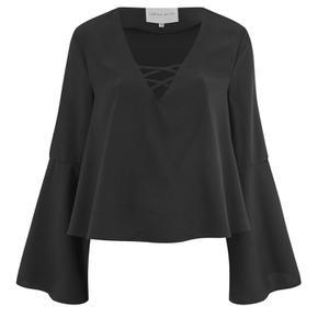 Lavish Alice Women's Lace Up Deep Plunge Bell Long Sleeve Top - Black
