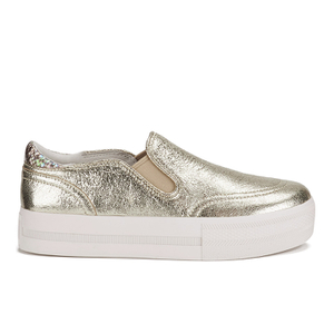Ash Women's Jungle Leather Flatform Slip-on Trainers - Platine