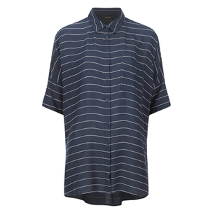 VILA Women's Very Short Sleeve Striped Shirt - Total Eclipse