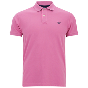 GANT Men's Contrast Collar Pique Polo Shirt - Bubblegum