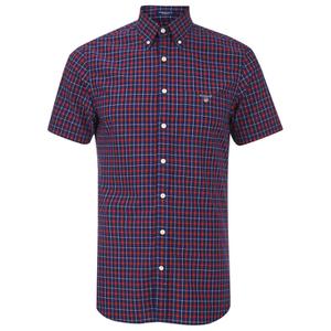 Gant Men's Poplin Check Short Sleeve Shirt - Red