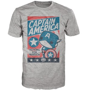 Marvel Captain America Poster Pop! T-Shirt - Grey