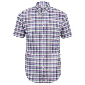 Lacoste Men's Short Sleeve Checked Shirt - Iodine