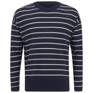 AMI Men's Oversized Crew Neck Sweatshirt - Navy/White