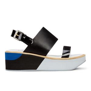 Paul Smith Shoes Women's Bennet Leather Flatform Sandals - Black Charol Patent