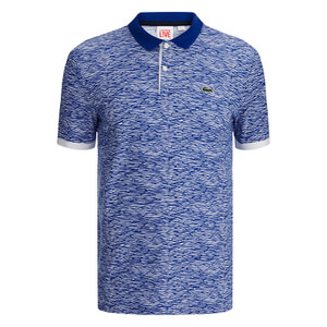 Lacoste Live Men's Ribbed Collar Polo Shirt - White/Royal