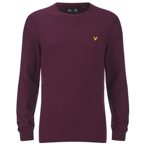 Lyle & Scott Vintage Men's Crew Neck Marl Seed Stitch Jumper - Ruby
