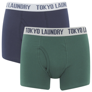 Tokyo Laundry Men's Tasmania 2 Pack Boxers - Jasper Green/Midnight Blue