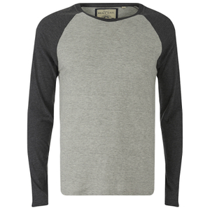 Brave Soul Men's Osbourne Raglan Long Sleeve Top - Light Grey Marl