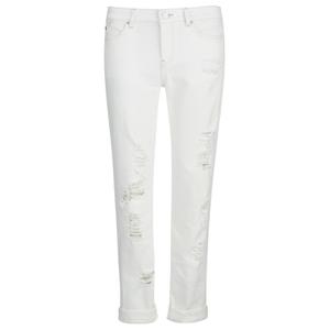 Karl Lagerfeld Women's Distressed Boyfriend Denim Jeans - White