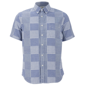 Edwin Men's Short Sleeve Patchwork Shirt - Blue