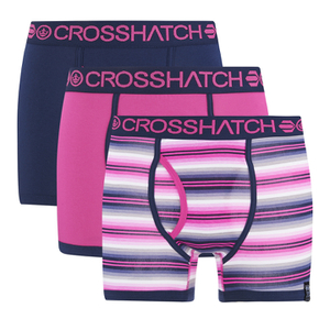 Crosshatch Men's Neonic 3-Pack Boxers - Bright Magenta/Dress Blue