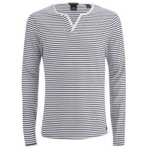 Scotch & Soda Men's Long Sleeved Grandad T-Shirt - Grey Melange