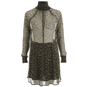 Ganni Women's Lewis Chiffon Dress - Plantation/Black