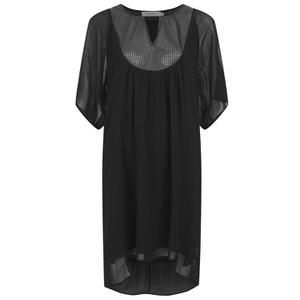 Munthe Women's Eiffel Babydoll Leather Detail Dress - Black