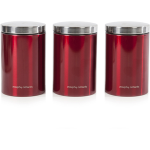 Morphy Richards 974069 Set of 3 Storage Canisters - Red