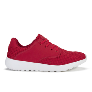 Crosshatch Men's Runner Suede Side Panel Trainers - Haute Red