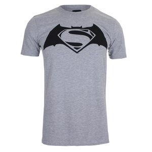 DC Comics Men's Batman v Superman Logo T-Shirt - Sport Grey