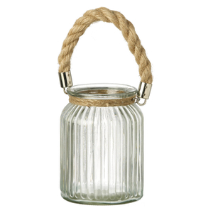 Parlane Padstow Lantern with Rope Handle - Brown