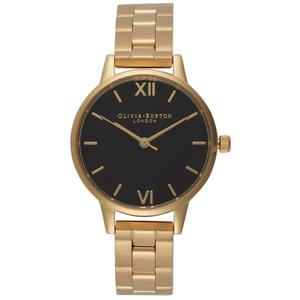 Olivia Burton Women's Midi Dial Watch - Black Dial/Gold Bracelet