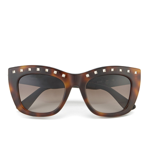Valentino Women's Rockstud Square Frame Sunglasses - Dark Havana